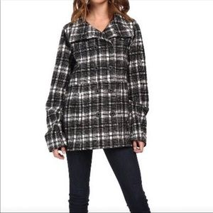 Hurley 3/4 length hooded button up pocketed coat